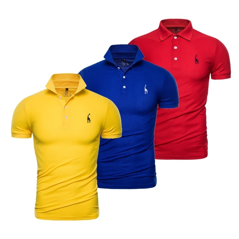 3PCS/Set Summer Giraffe Embroidery Polo Shirt Men Solid Business Social Casual Mens Polos Short Sleeve Male Tops Tee Shirts 210623