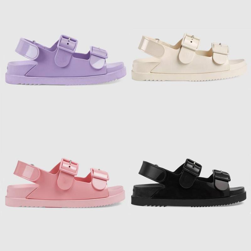 Designer Women's sandal with mini Double G Rubber Jelly Slippers Platform Sandals Adjustable Buckle Cartoons Slides Summer Beach Flip Flops With Box 299