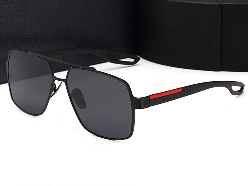 High quality Retro Polarized sunglasses man woman metal large Square frame designer Suitable for fashion, beach, driving. UV400 Oculos de sol masculino gafas with Case