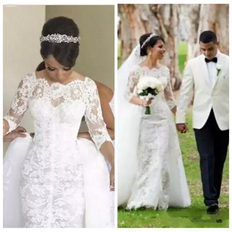 Half Sleeves Mermaid Lace Appliques Wedding Dresses 2021 Modest With Detachable Train Formal Bridal Gowns Vestidos De Mariee Custom