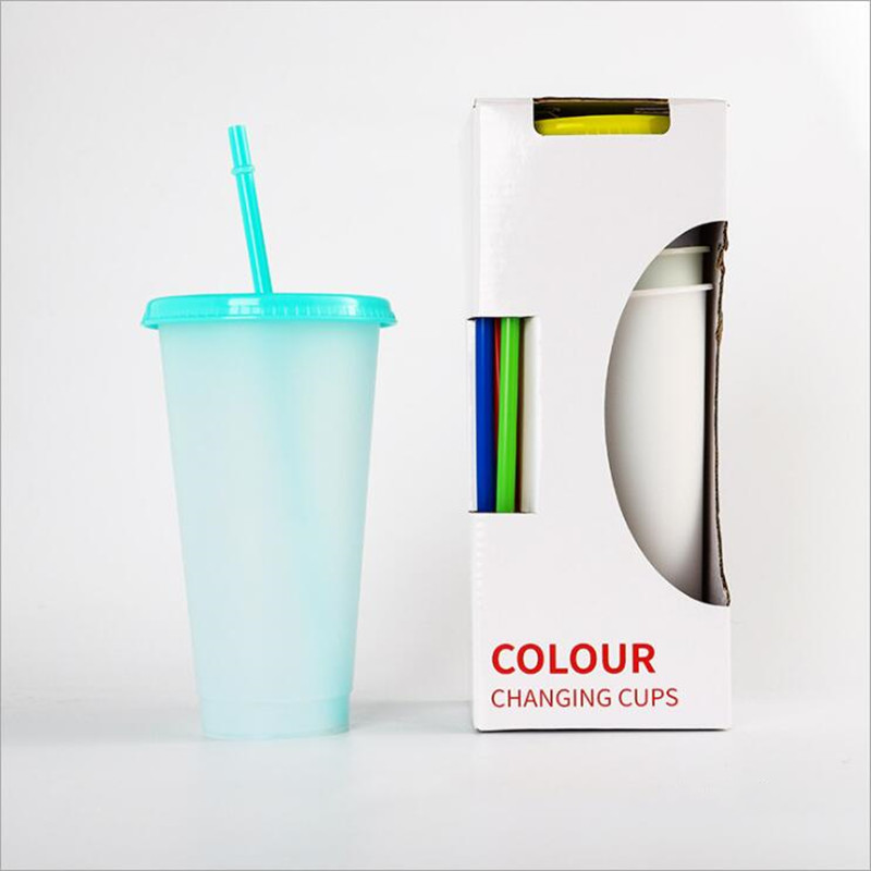 26oz Color Lens Mug Dinkware Changing Cup Magic Plastic Drinking Tumblers with Lid and Straw Reusable Clear Solid Colors Cold Brief Cups Summer Beer Mugs