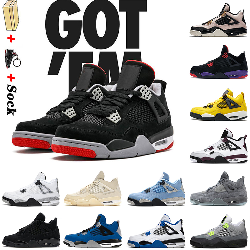 Off Bred 4s Basketball Shoes High Quality Size 13 Mens Trainers Black CatJordan NEON Red Thunder White Sail Jumpman Womens Sports