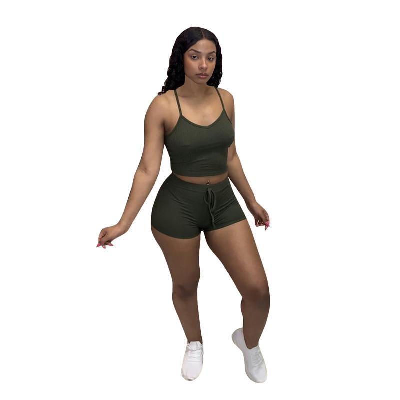 Wholesale Summer Womens Sportswear Tracksuits Sleeveless gallus two piece set Shorts outfits short sleeve jogging sportsuit sweatshirt sport suit klw6428