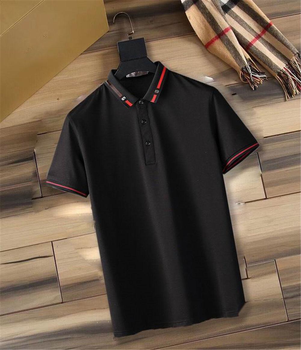 100% Cotton 21SS Polo Shirt Mens T-shirt Fashion Clothing Short Sleeve Punk Letter Stripe Embroidered Skateboard Hoodie T-shirt M-3XL