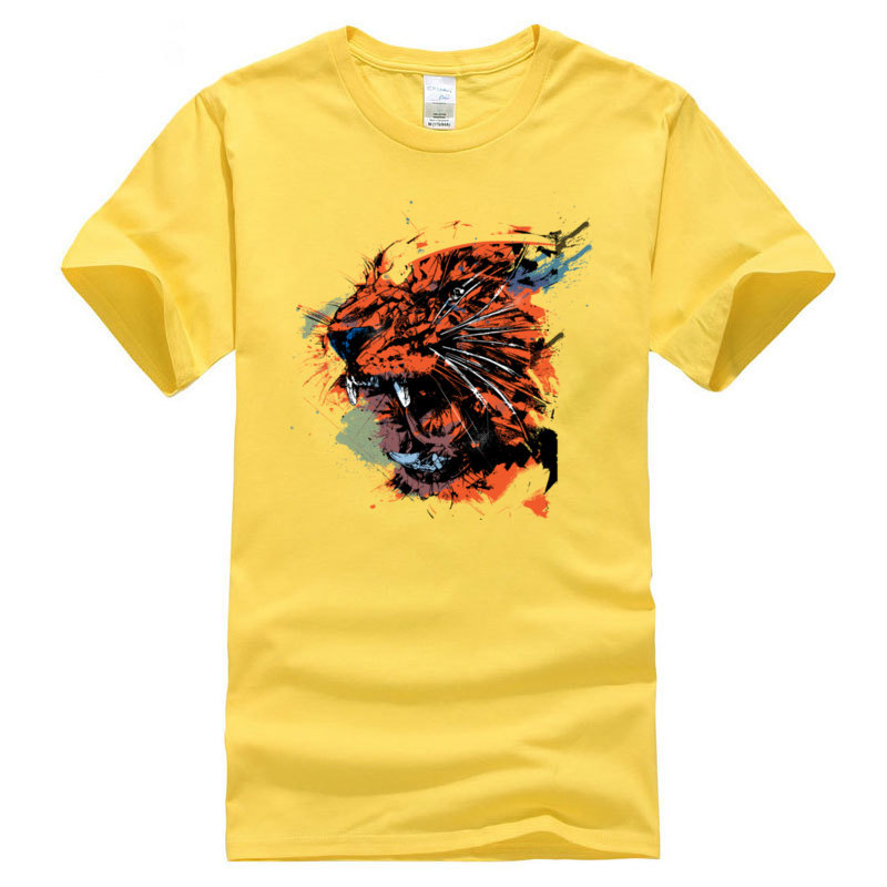 New Coming Faded_Tiger._3329 Camisa Short Sleeve T Shirt ostern Day Crew Neck 100% Cotton Tops Tees for Men T Shirt Classic Faded_Tiger._3329 yellow