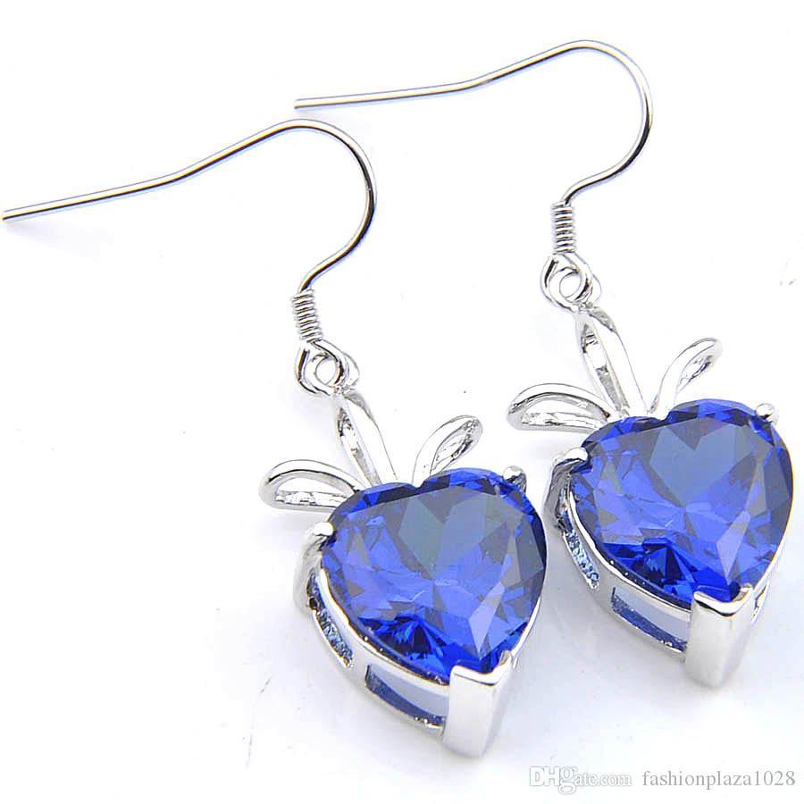Luckyshine Women Wedding Earrings Heart-shaped Blue Topaz Silver Cubic Zirconia Hook Dangle Earring