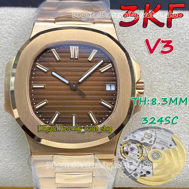 eternity Watches 3KF V3 Upgrade Version 5711 Cal.324 S C Automatic Brown Texture Dial Mens Watch Minimum noise Swiss Movement Rose Gold Case SS Steel Bracelet 110111
