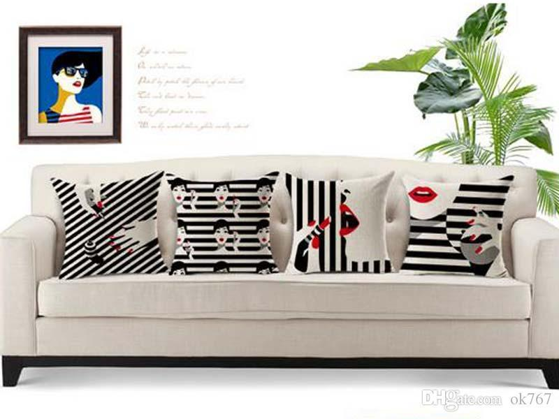 new factory direct sale fashion women cushion cover sexy red lips pillow case black and white stripes