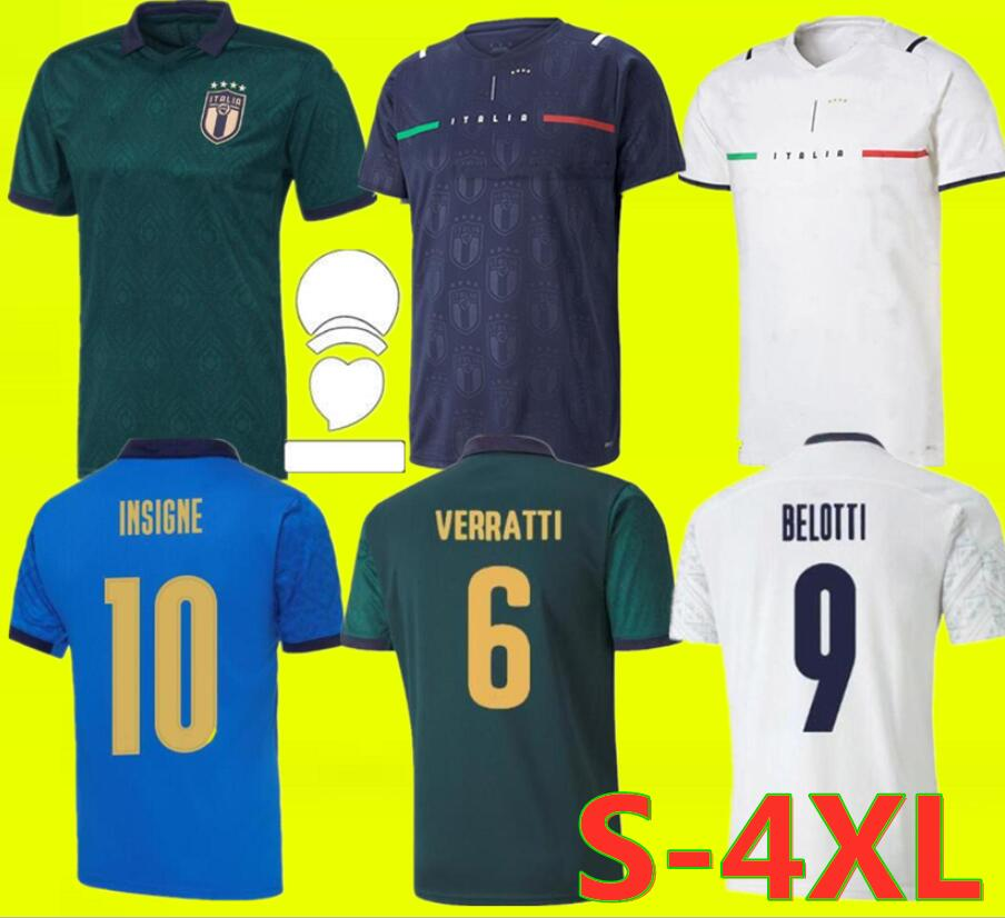 ITALY Soccer Jerseys 2021 Italia National Team Football Shirt Home Away Third VERRATTI IMMOBILE CHIESA 21 22 Size S-4XL