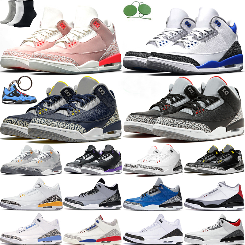 Basketball shoes 3s 3 jumpman Racer Blue Rust Pink UNC Black White Fire Red Cement Michigan Cool Grey Trainers Mens Sports Sneaker