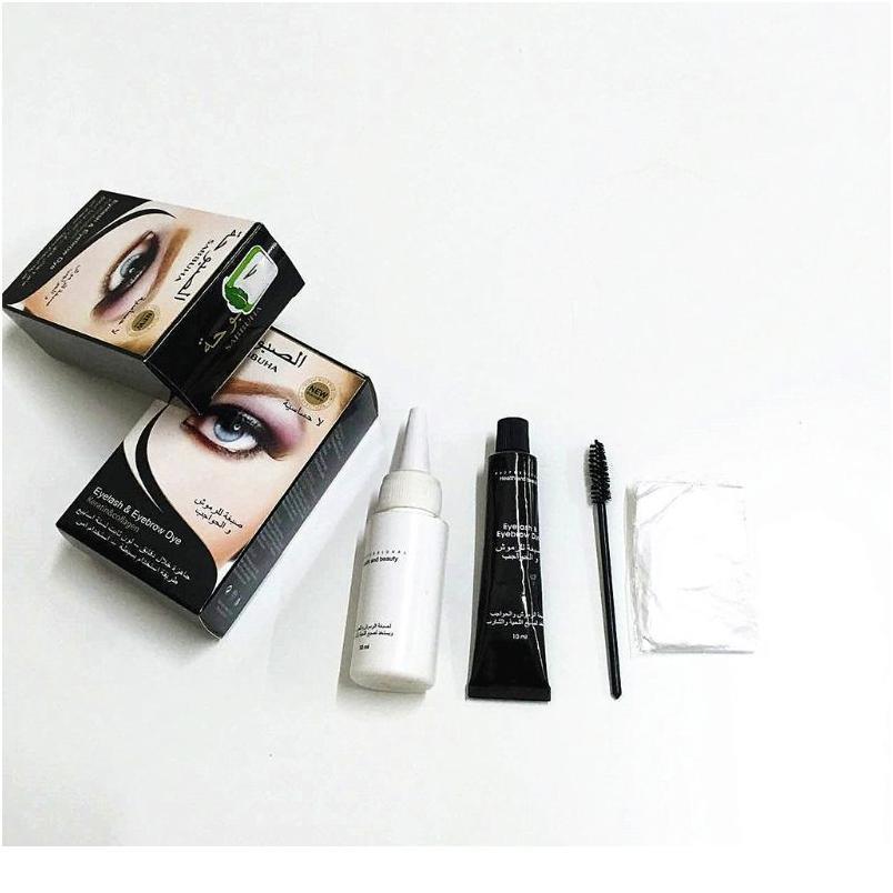 Universal Eyelashes Eyebrow Beard Mustache Hair Dye Paste Tint Kit Permanent Mascara Brow Lashes Comb Brush Set Male Fem jllqAj