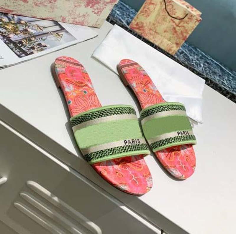 Classics sandals Fashion slippers slides Floral brocade Gear bottoms Flip Flops women shoes striped Beach causal slipper home011 01