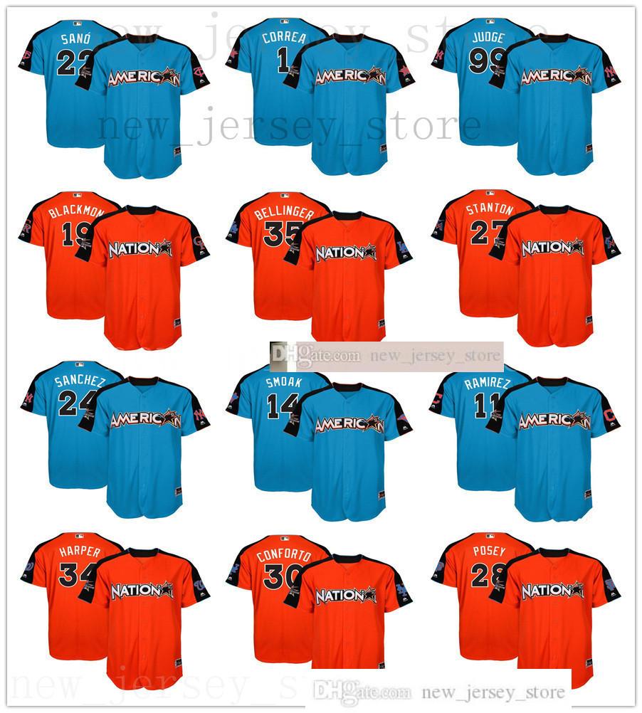 2017 All-Star Game Jerseys Stitched Sale 24 Sanchez 28 Posey 34 Harper 1 Correa 12 Lindor 35 Bellinger 99 Judge Smoak Molina Jersey Size S-XXXL