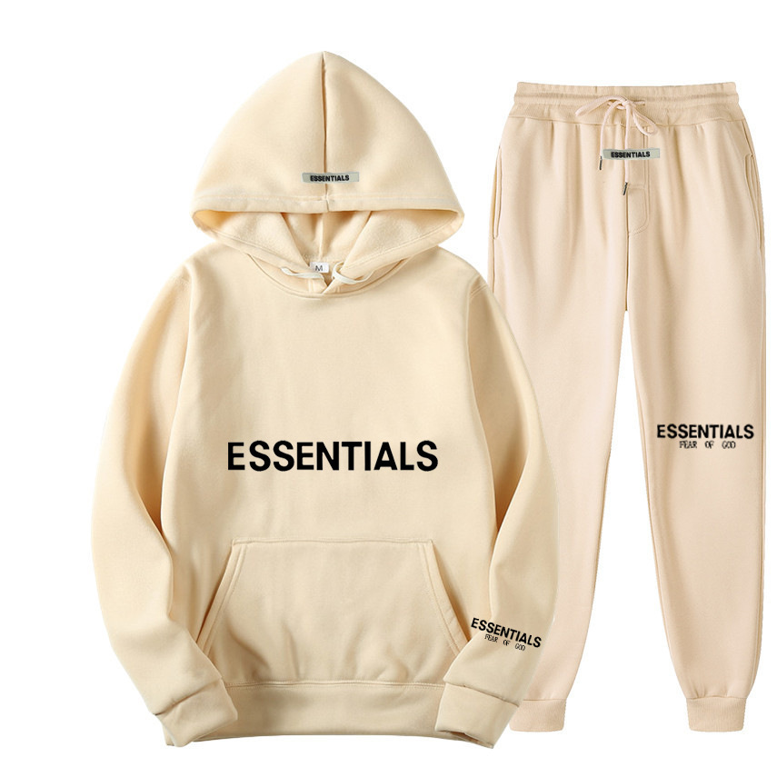 Fear double line fashion brand essentials new chest cuff hot stamping men's and women's sweater set fog