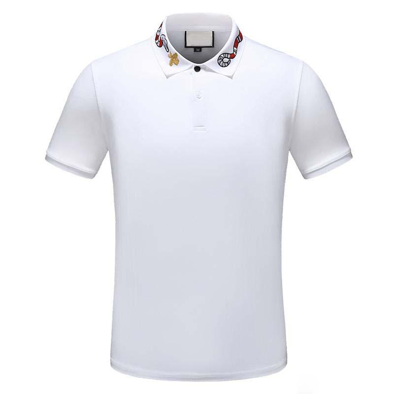 Summer T-shirt T-shirt Men's Designer Polo Shirt High Street Embroidery Garter Belt Snake Bee Print Clothing Men's Classic Polo Shirt