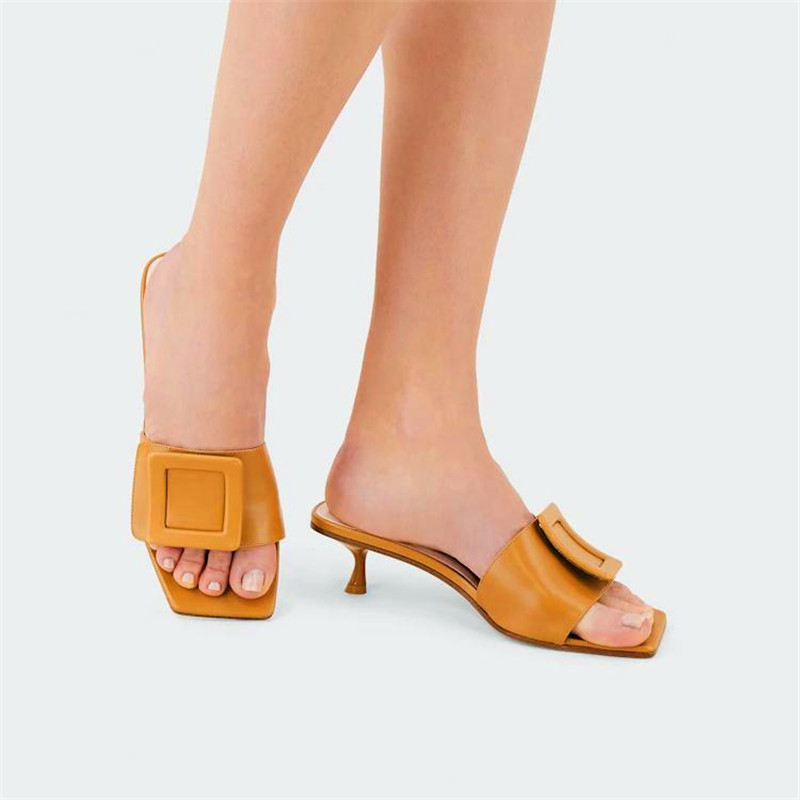 Covered Buckle Designers Women Slippers Low Kitten Heel Sandals With Box Patent Leather Mules Summer Fashion Flat Slides Must-have Slip-on Style Loafers 5.5 cm