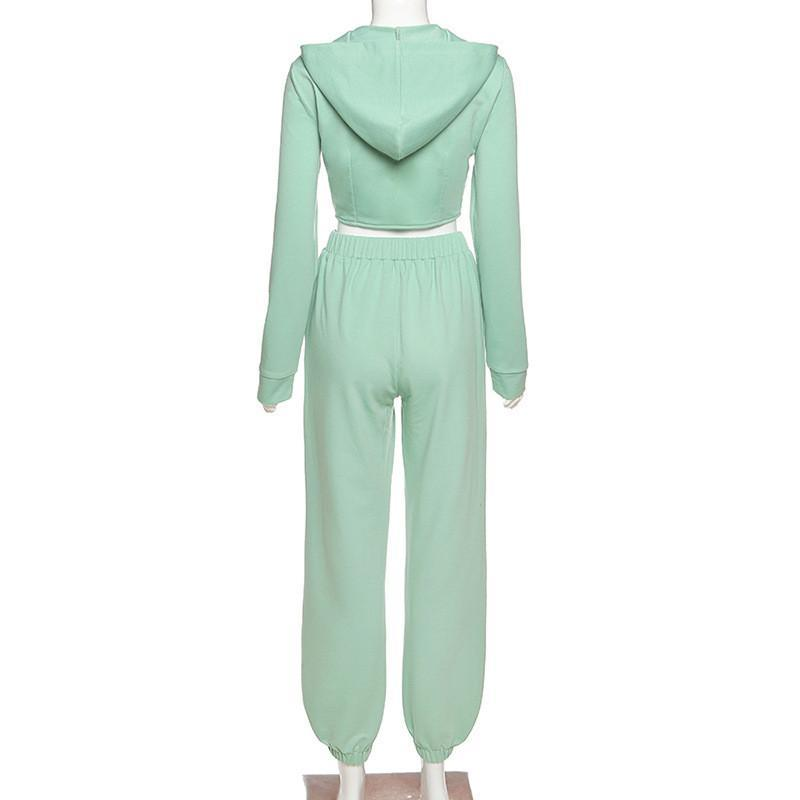 Casual Workout Sporty Two Piece Set for Women Autumn Long Sleeve Hooded Lounge Wear Zipper Corset Top And Pants Outfits