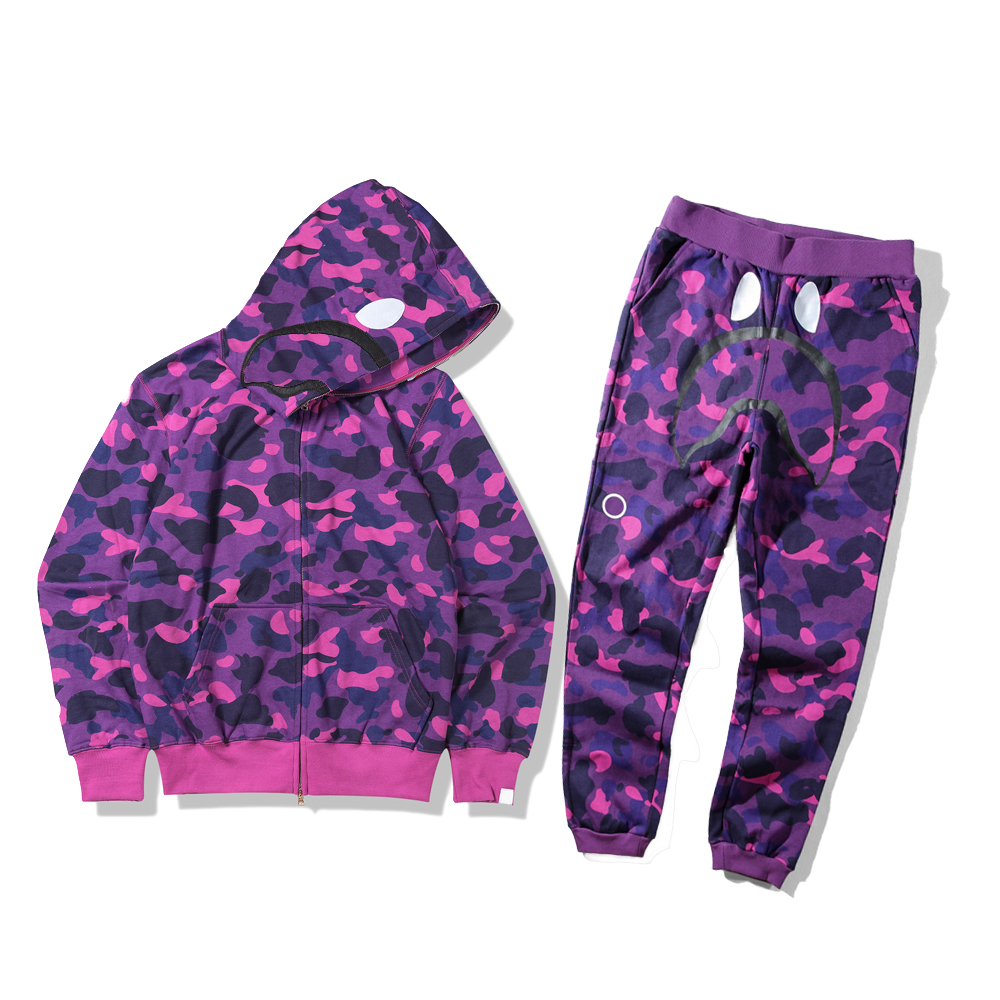 Mens Tracksuit Fashion Sweatsuit Men Two Piece Hiphop Trousers Male Streetwear Womens Zipper Hoodies+Pants Pullover Casual Animals Pattern Print