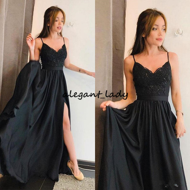 Simple Black Evening Dresses Straps Lace Summer Long Prom Dresses For Teens Petite Chiffon Robes formelles soirée party 2019 With Slit Gown