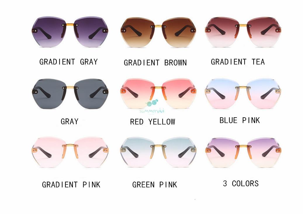 Fashion Kids Sunglass 2021 Boys Gilrs polygon crystal Frameless Sunglasses Children ocean Glasses Eyeglasses Uv protection Beach Sunblock A6394