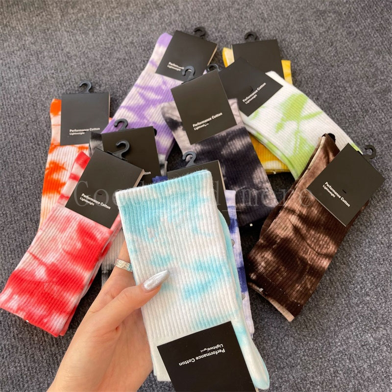 Girls Women Socks 10 Tie dye Color Cotton Personality Fashion Sweat-absorbent Breathable Absorb Sweat Run Sports Stocking Good Quality