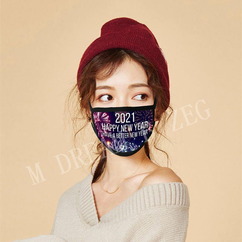 2021 Happy New Year Masks Merry Christmas Face Mask Fashion Breathable Reusable Printing Cotton Masks Celebrate New Year Supplies Party Mask
