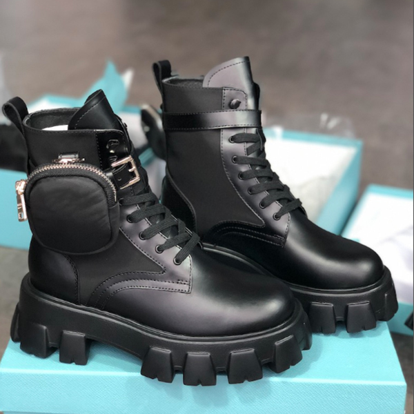 Women booties Motorcycle Rois Boots Ladies Leather Removable Keycase bag And Nylon Combat Martin Boots Party Dress Cool Thick Bottom Shoes