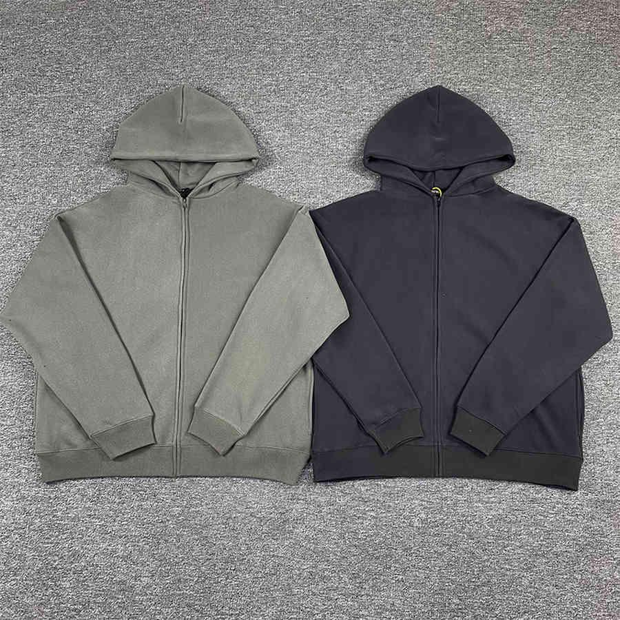 Heavy Fabric Solid Color Kanye West Season 6 Zip Hoodie Men Women 1:1 Quality Casual Loose Gray Sweatshirts
