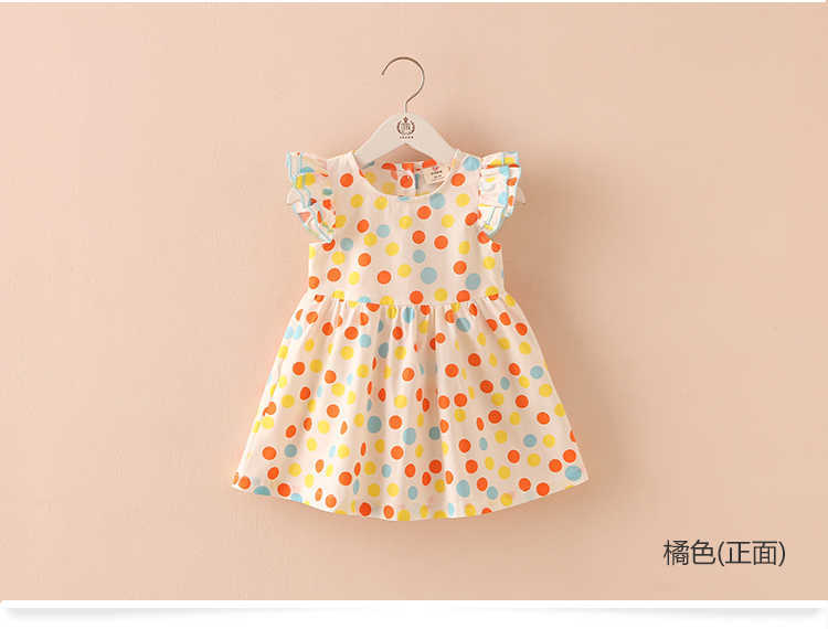 Summer 2-10 Years Beautiful Pretty Sweet Children Baby Kids Pleat Short Fly Sleeve Party Prom Polka Dot Dresses For Girls (2)