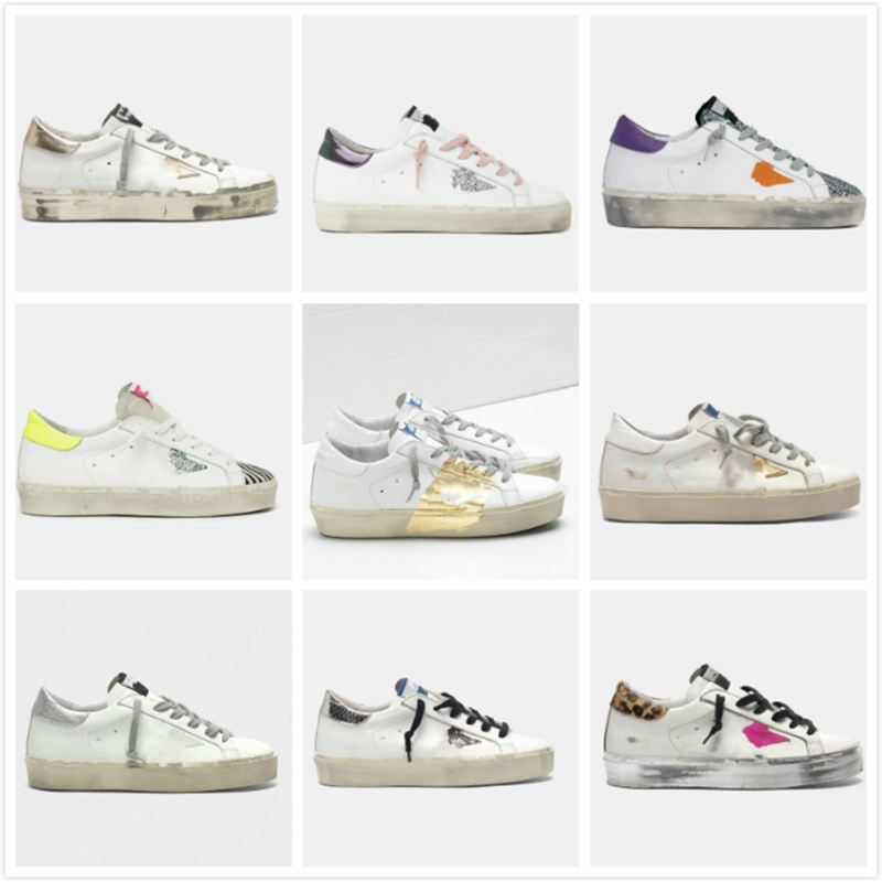 Hi Star Sneakers Golden luxury Women Shoes Double height Bottom Designer Man Casual Shoe Classic Do-old Dirty Trainers