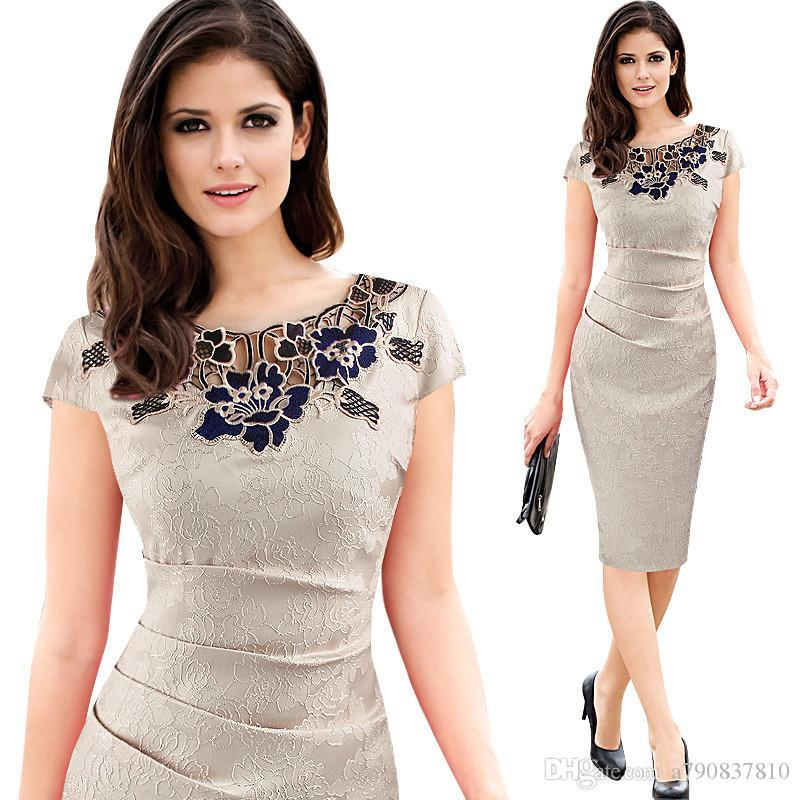 New Womens embroidery Elegant Vintage Dobby fabric Hollow out embroidered Ruched Pencil Bodycon Evening Party Dress Round neck lace