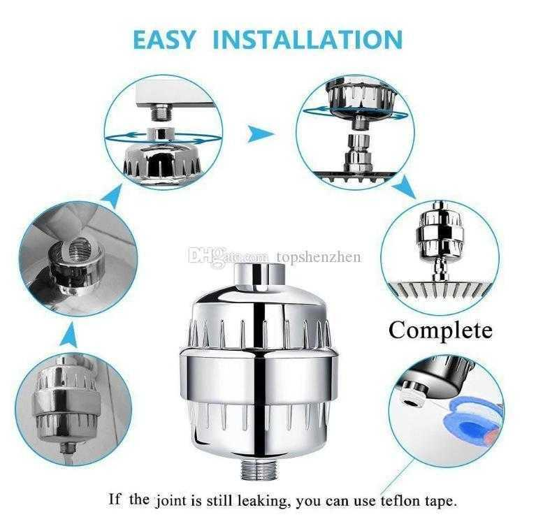 10-15 Stage Shower Filter 2 Replaceable Cartridges Kit Shower Water Filter Removes Chlorine Reduces Flouride Chloramine Filtered Shower Head