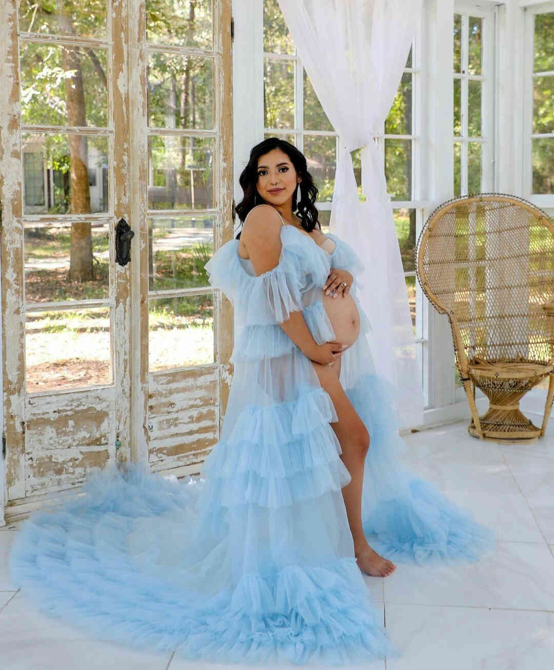 Light Blue Spaghetti Evening Dresses Tulle Ruffles Front Split Off Shoulder Prom Gowns for Pregnant Women vestido de novia