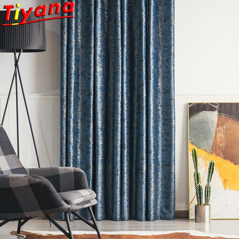 Curtain & Drapes Blue /Goldern Bronzing Art Curtains For Living Room Luxury Velvet Shiny Cloth Blackout Window Bedroom #VT