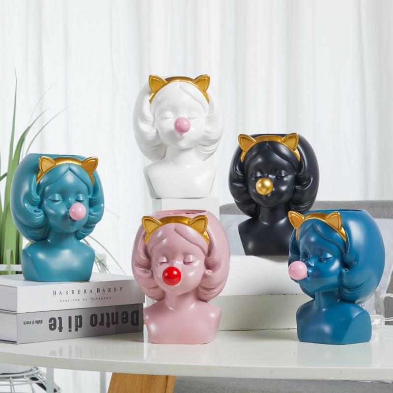 Creative-Nordic-style-Resin-vase-Cute-girl-bubble-gum-Decorative-flower-pot-modern-lovely-Art-decoration YXYT (8)