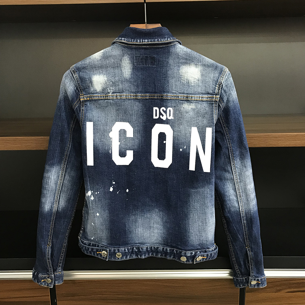 DSQ denim Jacket men coat dark Blue Casual Denim Jacket cotton Turn-down Collar Long Sleeve Denim Bomber jackets for man 98372