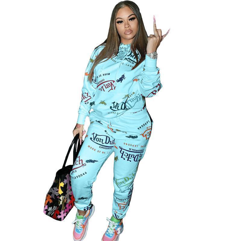 Womens outfits long sleeve set tracksuit jogging sportsuit shirt leggings outfits sweatshirt pants sport suit hot selling klw5344