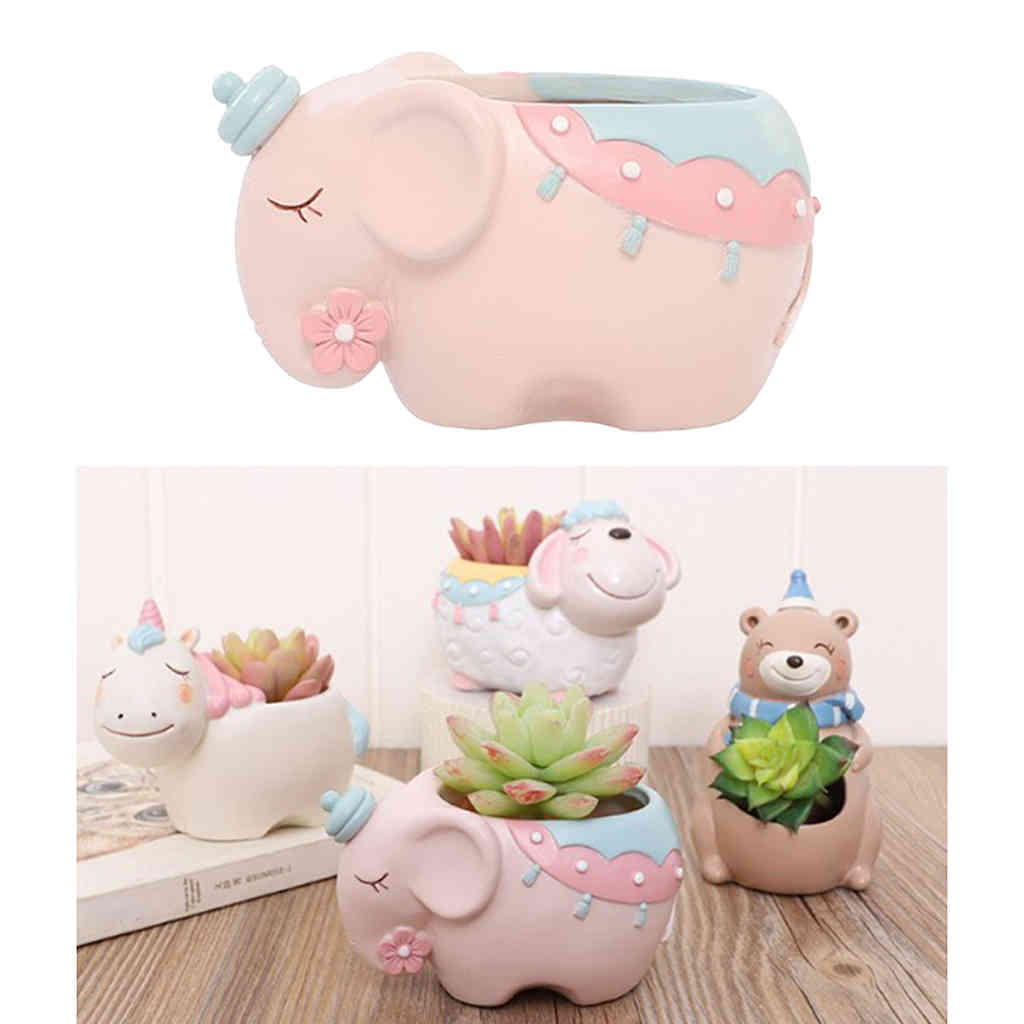 Small Succulent Pots Resin Succulent Planter Cactus Pot for Real or Artificial Succulents, Cactus & Other Small Indoor Plants