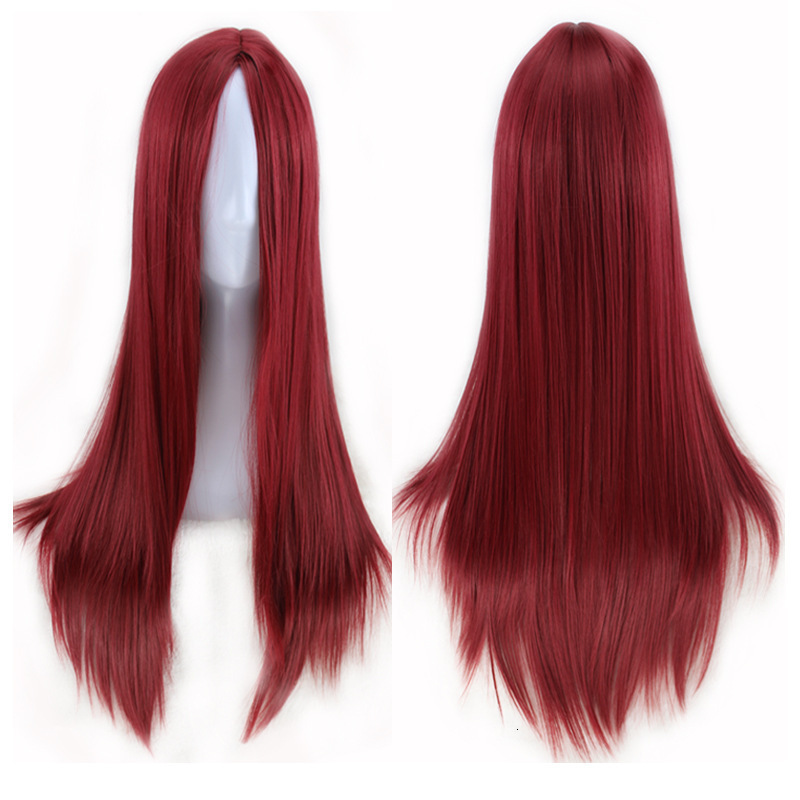 Long Straight Black Wig Synthetic Wigs Heat Resistant Fiber Wig for Women with adjustable button J1541