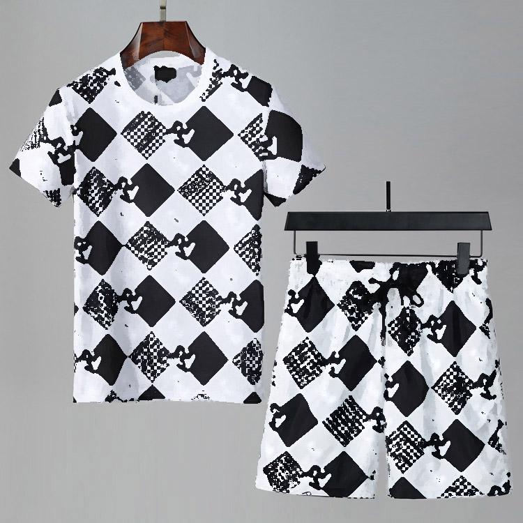 2021 designer tracksuit Set Fashion Running mens tracksuit Letter Slim Clothing Track Kit Sports Short sleeve Suit M-3XL
