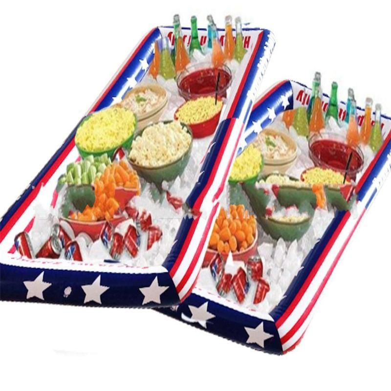 Seasiade Ice Tray Inflatable Party Cooler American Flag Ices Bucket Summer Sandbeach Red Blue Plastic Portable Fashion 12hc C1