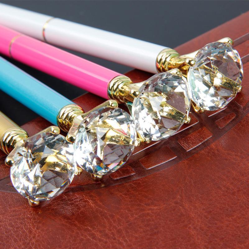 Creative Crystal Glass Kawaii Ballpoint Pen Big Gem Ball Pen With Large Diamond Fashion School Office Supplies