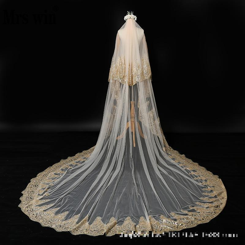 Bridal Veils Wedding Veil 2021 Mrs Win Champagne Applique Two-layer Cathedral Luxury Bling With Comb F