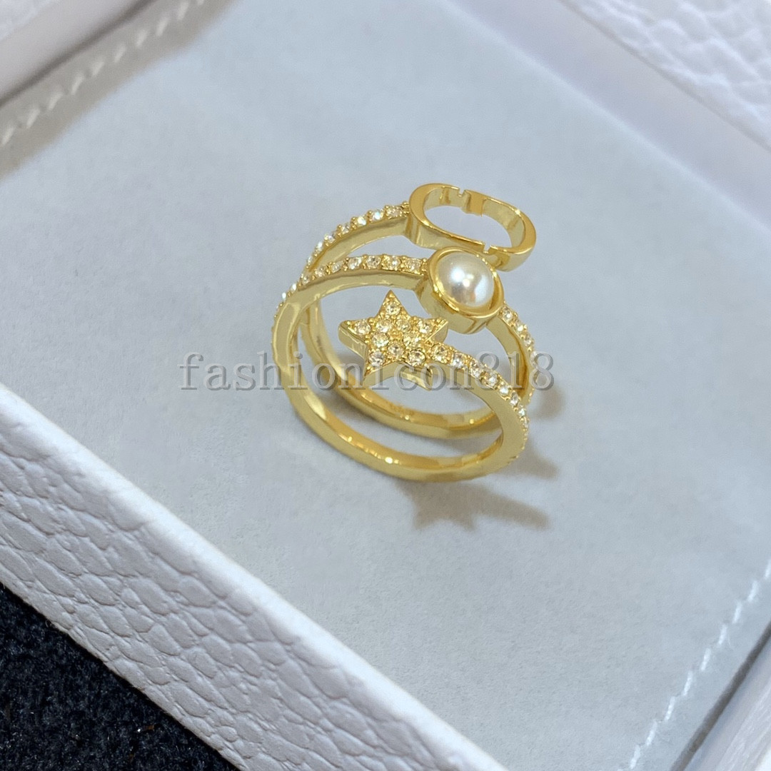 High quality Men and women New luxury designer letter opening adjustable ring net celebrity all-match fashion material