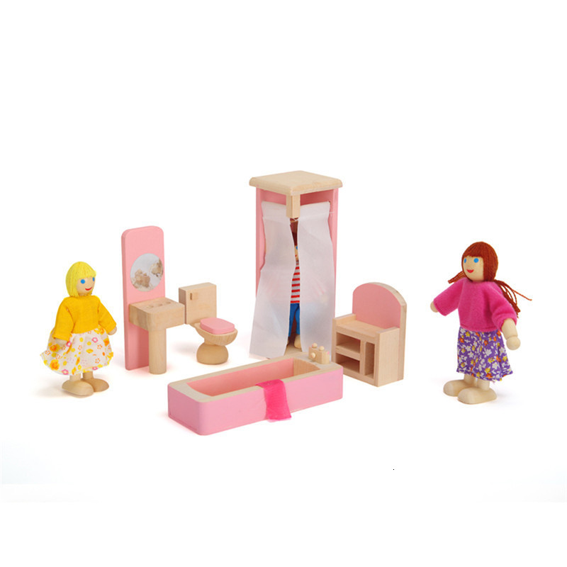 Wooden Doll Bathroom Furniture Bunk Bed House Miniature Children Dolls Doll House Accessories for Kids Play toy
