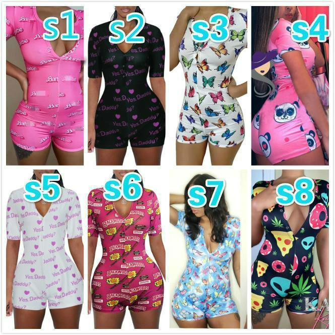 hot Women Nightwear Playsuit Workout Button Skinny Hot Print short sleeve Jumpsuits V-neck Short Onesies Women Plus Size Rompers