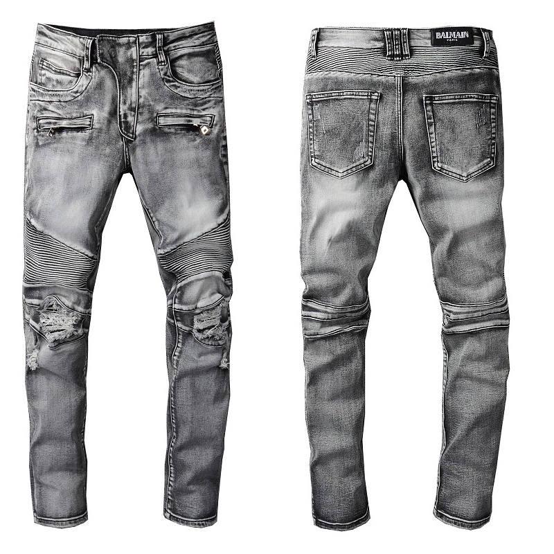 2021 New Arrivals Balmian Mens Luxury Designer Denim Jeans Holes Trousers Biker Pants Men's Clothing #1094