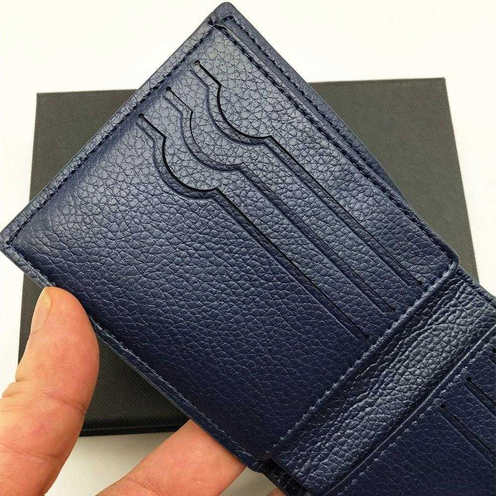 Fashion Mens Short Wallets Classic Genuine Leather Men Fish Scale Pattern Wallet With Card Slot Bifold Wallet Small Wallets With Box