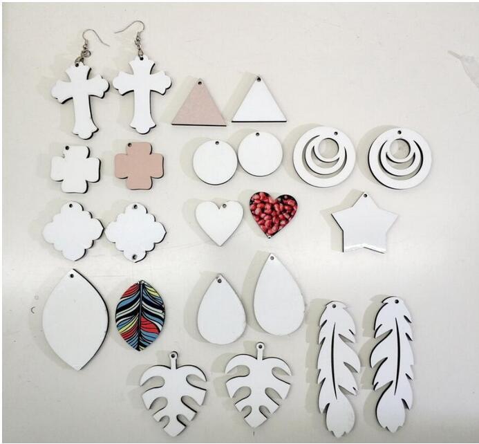 Sublimation Blank Dangle Earrings MDF Eardrop for DIY Personalized Women Ear-rings Round Waterdrop Star Shape Ear pendants