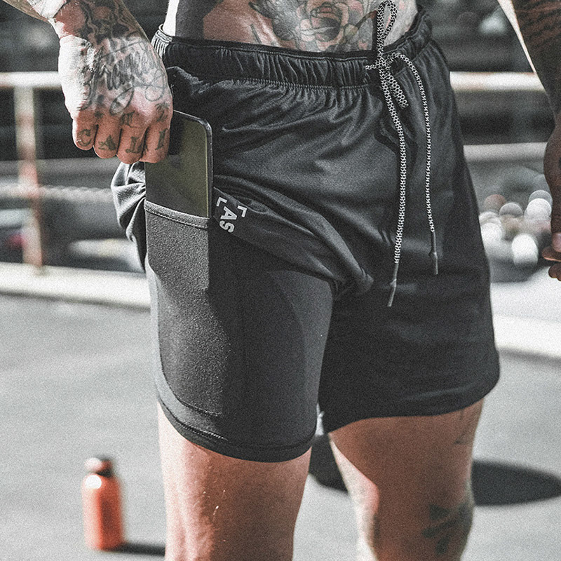 ASRV Men Fitness 2 in 1 Double-deck Quick Dry Jogging Shorts Sports Men's Gym Bodybuilding Beach Basketball Shorts Casual Pants R0417